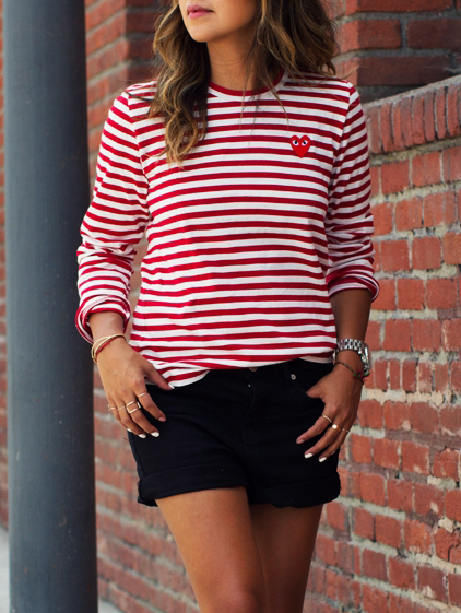 Women's NYC Stripe Long Sleeve Shirt Color - Red and White Stripe Material - Poly/Cotton, Lightweight (Can also be worn by teens. These are slim cut shirts- .