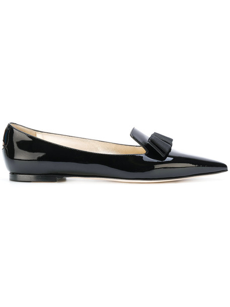 Jimmy Choo women slippers leather black shoes