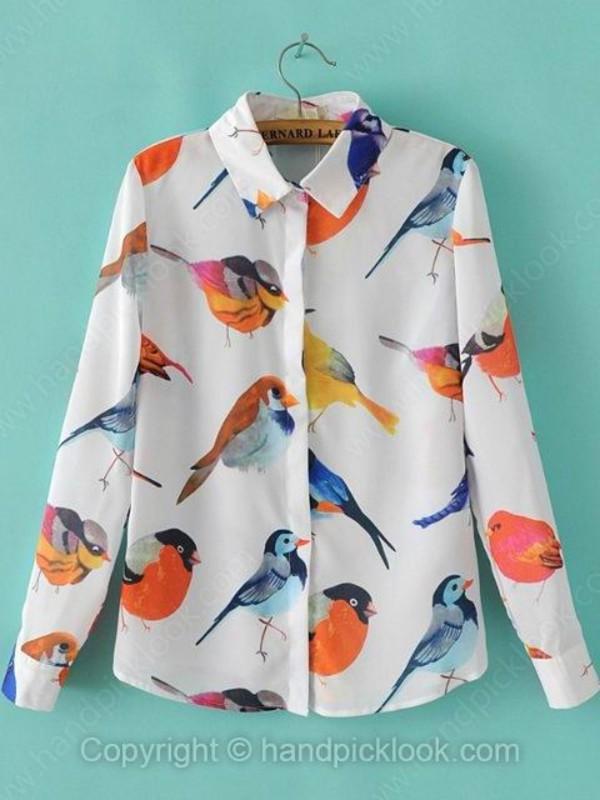 blouse printed blouse bird print blouse bird print summer blouse chiffon blouse birds top