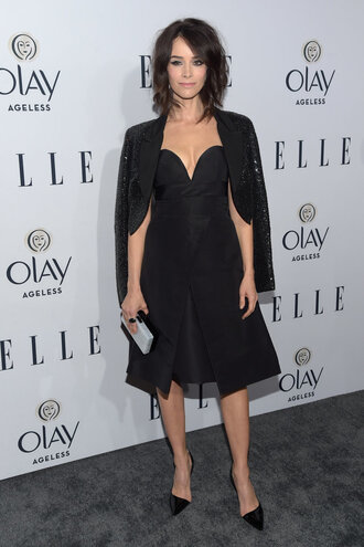 dress gown bustier dress black dress all black everything pumps abigail spencer blazer