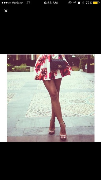 skirt floral white magenta purple red