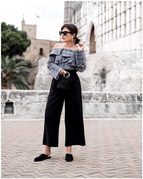 top grey top tumblr off the shoulder off the shoulder top pants black pants cropped pants shoes slide shoes sunglasses plaid