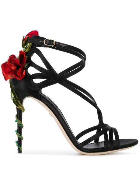 Dolce & Gabbana women sandals leather black silk shoes