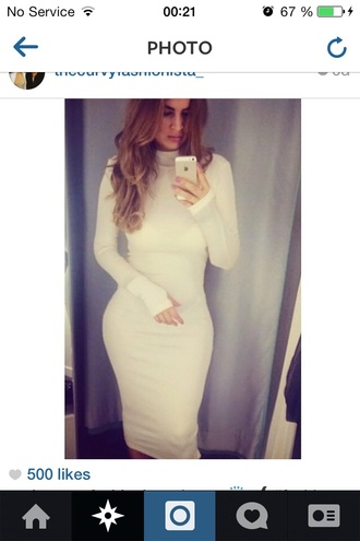 white dress cream dress bodycon dress turtleneck turtleneck dress kim kardashian dress classy dress