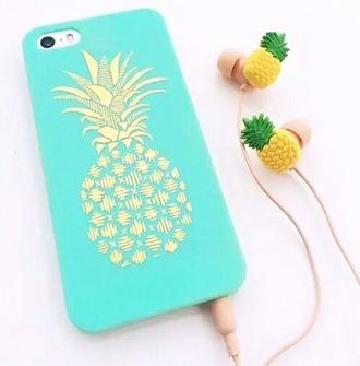 phone cover pineapple aqua summer girl iphone