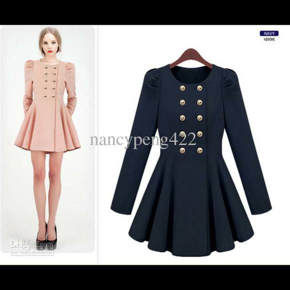 coat trench coat blue buttons dress pink