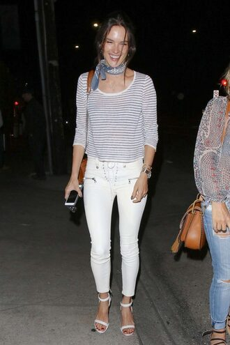 jeans white jeans alessandra ambrosio sandals top stripes bandana