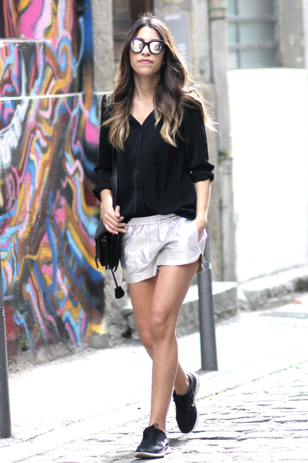 fadela mecheri t-shirt shorts shoes bag sunglasses