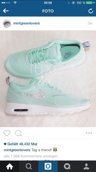 shoes mintgreen nike tumblr glitter