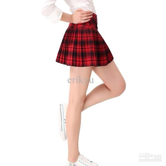 skirt plaid skirt tartan checkered red red dress black skirt red skirt red skir mini skirt style clothes short skirt pleats pleats dresses pleated skirt pleatedskirt
