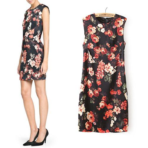 2014 New Summer Women Mini Dress Hot Sale Sleeveless Floral Print Pattern Sexy Style Slim Cheongsam Dresses Free Shipping WQW187 | Amazing Shoes UK
