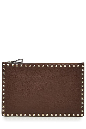 clutch leather brown bag