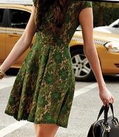 dress,nude slip,emerald green,cap sleeves,skater dress,green,lace dress
