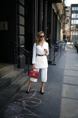 memorandum blogger jewels jacket skirt red bag pumps pants belt spring outfits