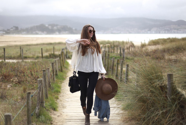 b a r t a b a c blogger jeans felt hat blouse