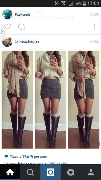 skirt grey skirt scarf sweather