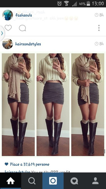 skirt grey skirt scarf sweater