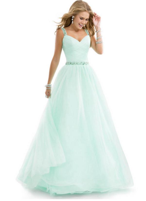Dress: prom, pretty, blue, light blue, long prom dress, prom dress ...