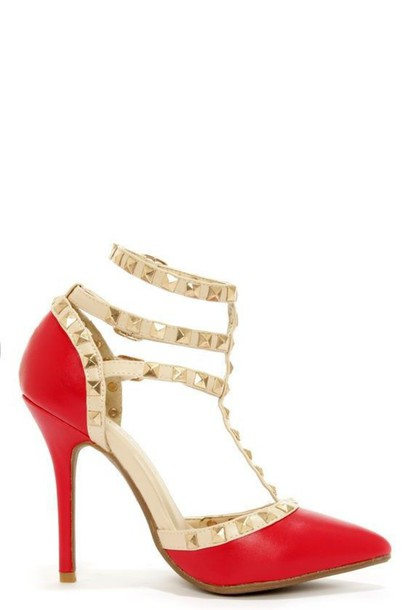 Shoes: red heels, stilettos, strappy heels, high heels, studded ...