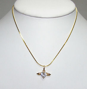 CZ Heart with Gold Plated Wings on Chain | eBay