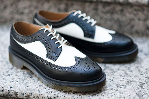 black and white brogue shoes