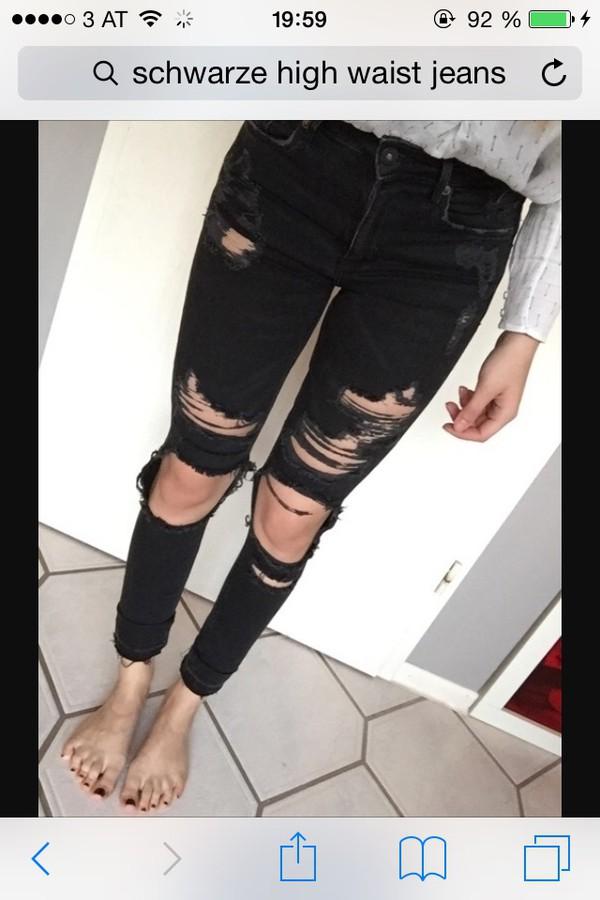 99b961cc8988f5 H&M Schwarze High Waist Jeans 25/32 Löcher