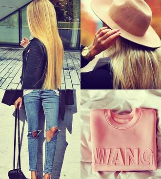 jumpsuit alexander wang blonde hair jeans hat