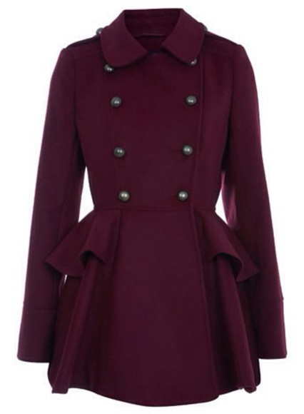 buttons coat marron peacoat collar felt fit and flare