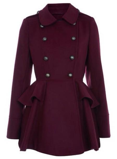 coat marron pea coat collar felt buttons fit and flare purple burgundy fit and flare pea coat