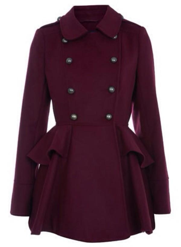 Coat Marron Pea Coat Collar Felt Buttons Fit And