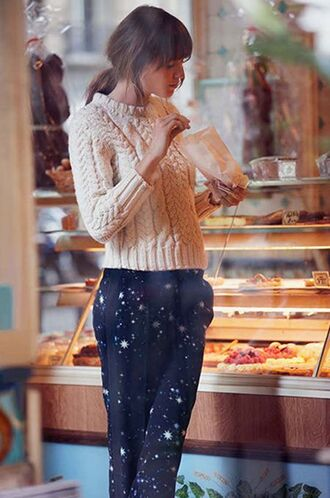 pants stars jeanne damas knitted sweater winter outfits printed pants french girl style