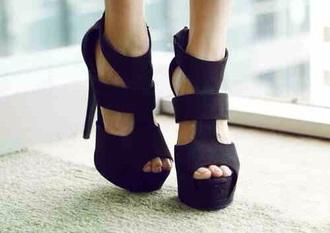 shoes black heels open toes