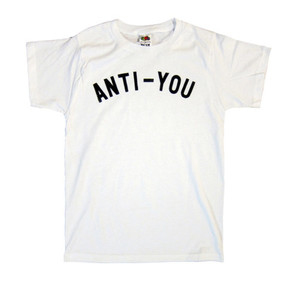 t-shirt anti you u tee white black letters text