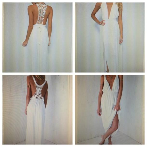 dress crochet maxi dress lowback dress