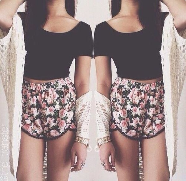 shorts rose shorts pink floral flowered shorts black crop top cream cardigan flowy shorts floral shorts with crop tops