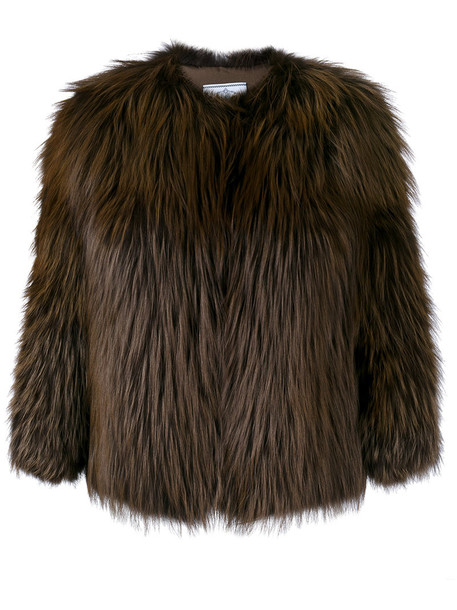 jacket cropped jacket cropped fur fox women silk brown