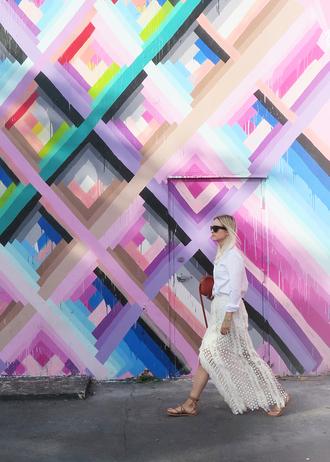the fashion guitar blogger boho chic maxi skirt white shirt