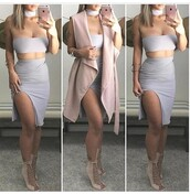 shoes,outfit,outfit idea,summer outfits,fall outfits,cute outfits,spring outfits,date outfit,party outfits,trendy,clothes,fashion,style,stylish,clubwear,two piece dress set,two-piece,skirt,pencil skirt,slit skirt,high waisted skirt,top,summer top,cute top,crop tops,tube top,lavender,lavender crop top,necklace,choker necklace,vest,pink vest,sexy shoes,party shoes,cute shoes,summer shoes,clubbing  shoes,heels,high heels,cute high heels,lace up heels,pumps,high heel pumps,sleeveless,sleeveless top