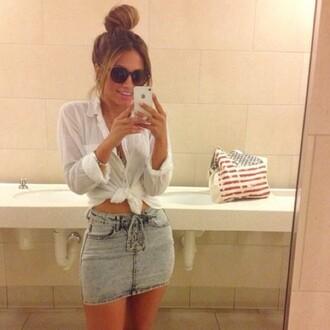 skirt denim fashion jeans curves high waisted skirt blouse edgy