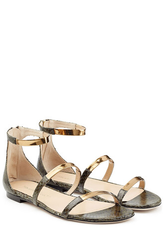 straps metallic sandals flat sandals leather green shoes