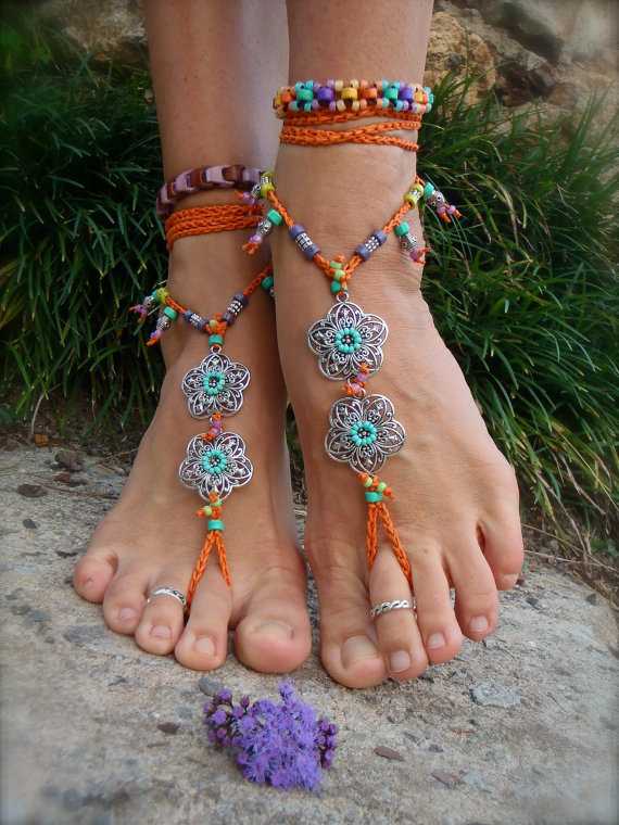 Gypsy summer barefoot sandals sole less sandals beach by gpyoga