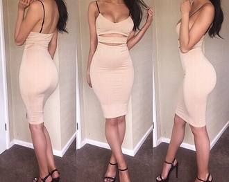 dress girly chic style bandage dress pencil skirt tank top spaghetti strap