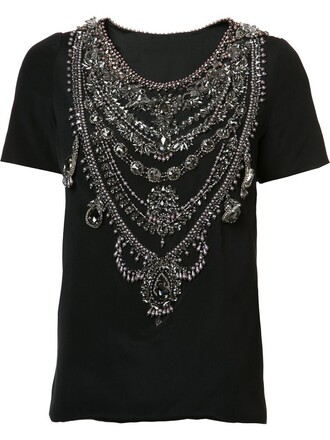 t-shirt shirt women embellished black silk top