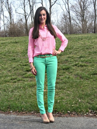 pink top preppy gingham