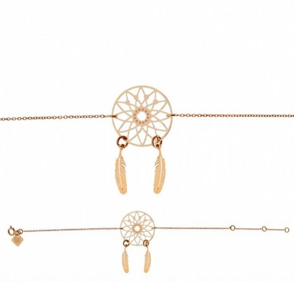 Bracelet chaine dreamcatcher plaqué or rose