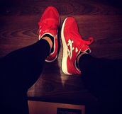 shoes,asics gel saga,asics,red,sneakers,sports shoes