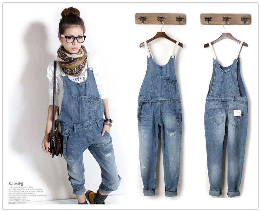 Womens Fashion Washed Casual Jumpsuit Romper Overall Jean Frayed Denim Pants | eBay