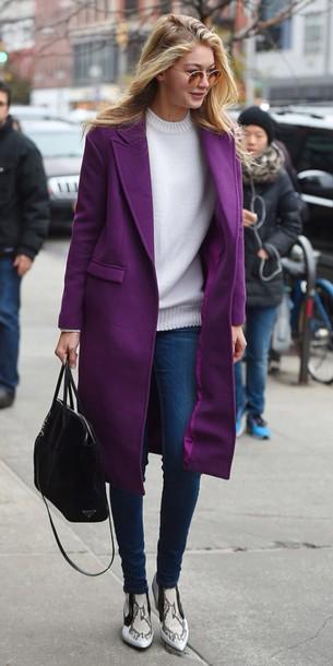 coat gigi hadid purple coat sweater