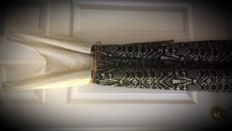 dress black & white tribal print beige lace top brown braided belt side split maxi dress