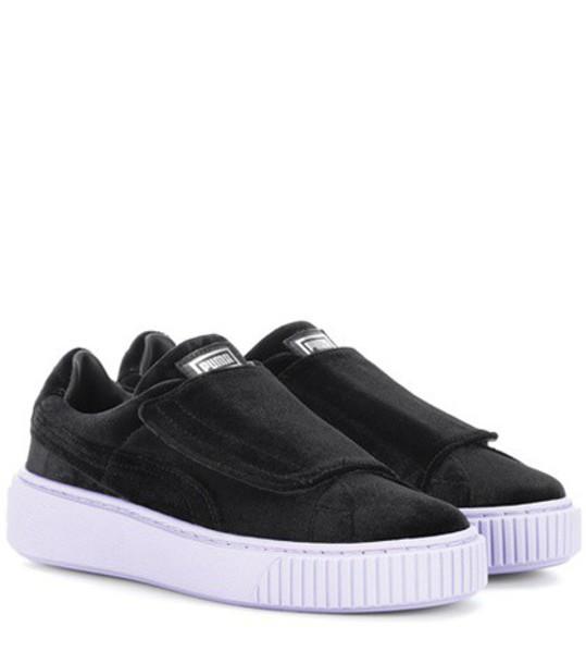 puma sneakers velvet black shoes